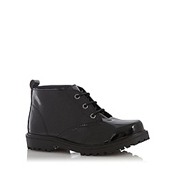 Faith - Black patent lace up ankle boots