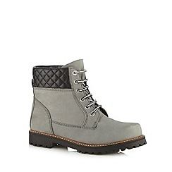 Faith - Grey 'Shanghai' leather quilted boots