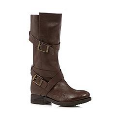 Faith - Brown leather calf length mid heeled boots