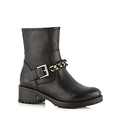 Faith - Black leather buckle low heel ankle boots