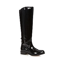 Faith - Black patent leather knee length boots