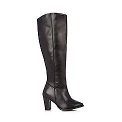 Faith - Black leather high leg high boots