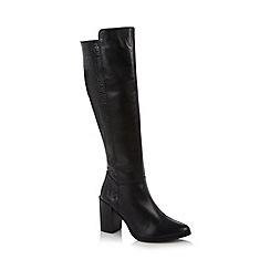 Faith - Black leather mock croc high leg boots