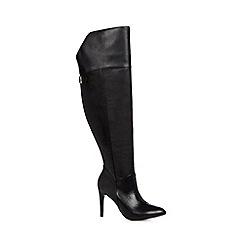 Faith - Black leather stiletto pointed high leg boot