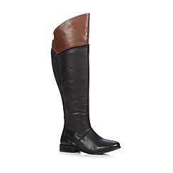 Faith - Black leather mid heeled over the knee boots