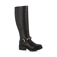 Faith - Black leather chain detail high leg boots