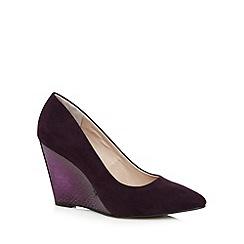 Faith - Dark purple high mock croc wedge court shoes