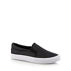 Faith - Black faux snakeskin slip on slip-ons