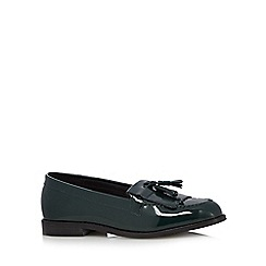 Faith - Dark green patent fringed loafers