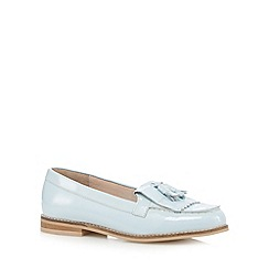 Faith - Pale blue patent fringe slip on shoes