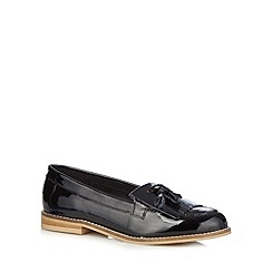 Faith - Black patent fringe slip on shoes