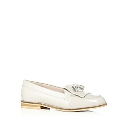 Faith - Grey patent fringe slip on shoes
