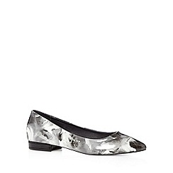 Faith - Grey floral low heel slipper shoes