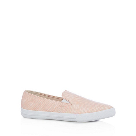 faith pale pink snakeskin effect slip on shoes at