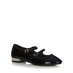 Faith - Black patent double strap shoes
