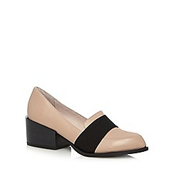 Faith - Natural leather two tone mid block heel court shoes