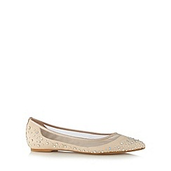 Faith - Natural embellished mesh trim pumps