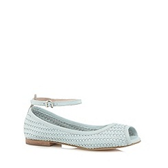 Faith - Light green leather woven peep toe flat sandals