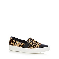 Faith - Tan animal pony hair slip on shoes