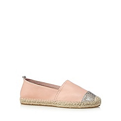 Faith - Light pink mock snake toe cap leather espadrilles