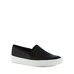 Faith - Black faux snakeskin slip on shoes