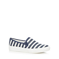 Faith - Navy striped canvas slip on shoes