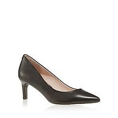 Faith - Black leather mid square stiletto court shoes