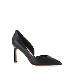 Faith - Black leather stiletto heel pointed toe court shoe