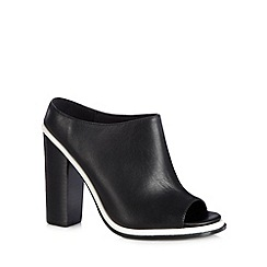 Faith - Black leather high peep toe shoe boots