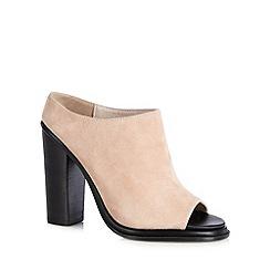 Faith - Natural suede high peep toe shoe boots