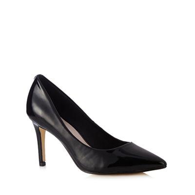 Faith Black patent pointed court shoe
