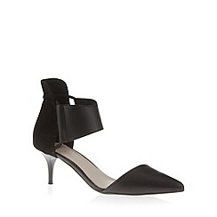 Faith - Black mixed leather cuffed mid court shoes