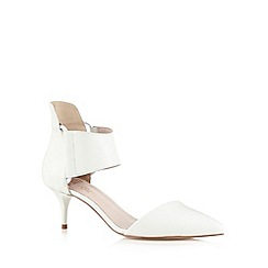 Faith - White leather mid heel court shoes