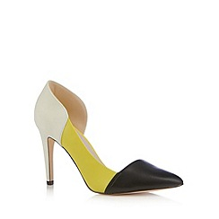 Faith - Ivory leather colour block court shoes
