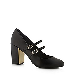 Faith - Black patent high two tone block heel court shoes