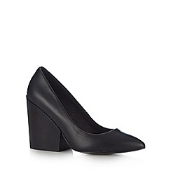 Faith - Black chunky stacked high court shoes