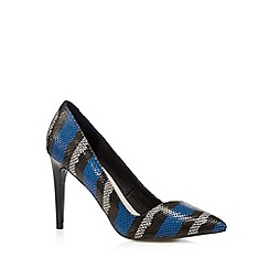 Faith - Blue striped snakeskin high court shoes