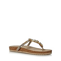 Faith - Light gold jewel toe post strap sandals