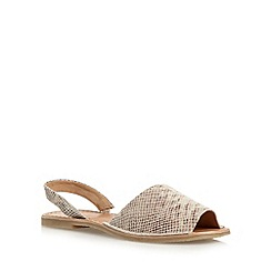 Faith - Natural leather snakeskin slingback sandals