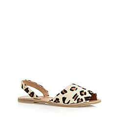 Faith - Natural leather leopard slingback sandals