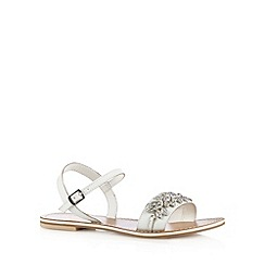 Faith - White leather jewel strap sandals