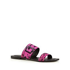 Faith - Bright pink leather buckle flip flops