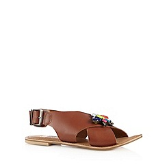 Faith - Tan leather jewel strap sandals