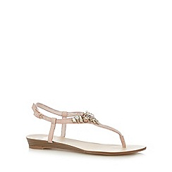 Faith - Natural embellished flat sandals