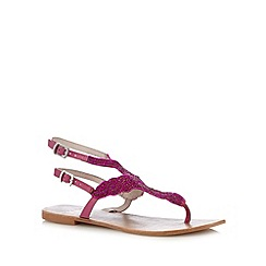 Faith - Pink leather embellished toe post strap sandals