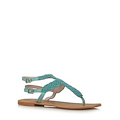 Faith - Turquoise beaded ankle strap sandals