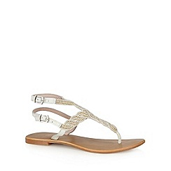 Faith - White bead embellished sandals