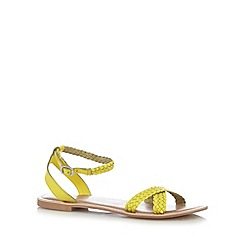 Faith - Light yellow leather plaited strap sandals