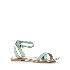 Faith - Green leather plaited sandals