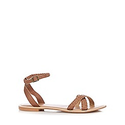 Faith - Dark tan leather plaited sandals